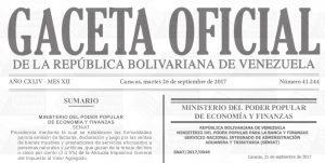 Gaceta Oficial N° 41.244 sumario