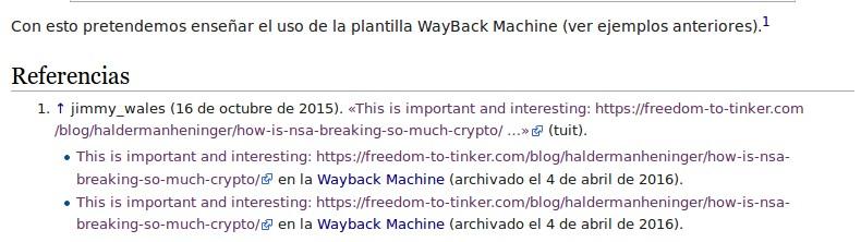 Plantilla WayBack Machine con ejemplo de referencia