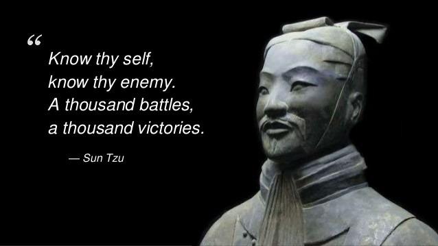 """Sun Tzu: conocete a tí mismo y a tu enemigo, """"El Arte de la Guerra""""."""