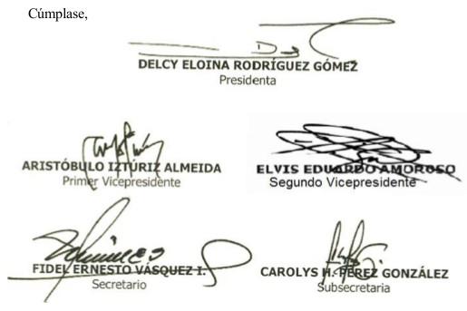 Asamblea Nacional Constituyente firmas  de la directiva ANC