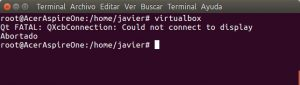 VirtualBox por SSH error Qt FATAL