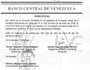Banco Central de Venezuela se reimprime por error material el Convenio Cambiario N° 39