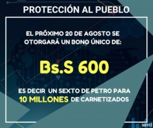 Petro anuncios bono especial carnet de la Patria un sexto de Petro