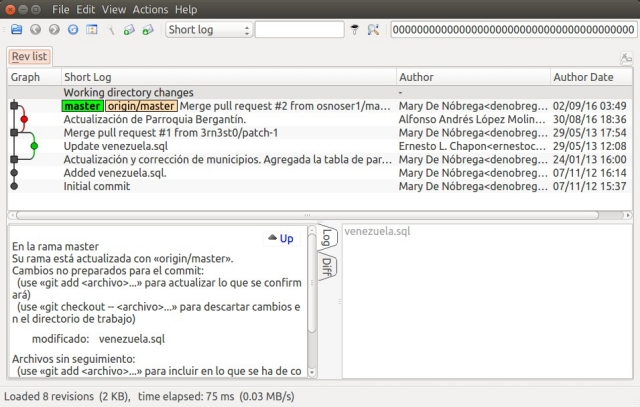 QGit Screenshot, Version Control Viewer