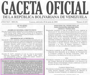 Sumario de Gaceta Oficial N° 41.423 del miércoles 20 de junio de 2018
