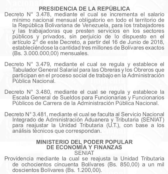 Gaceta Oficial Extraordinario N°6383 sumario en detal
