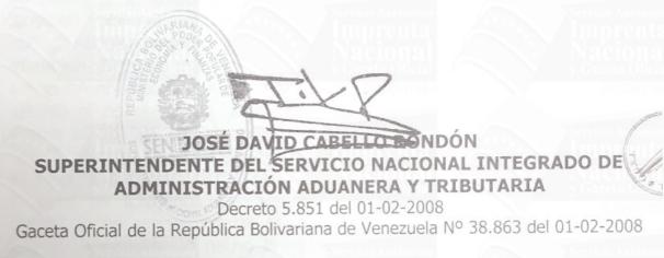 José David Cabello Rondón superintendente SENIAT