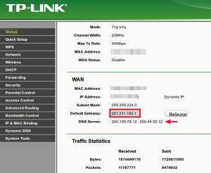 TP-LINK estado de conexión
