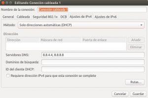 Ubuntu 16 editando conexion cableada