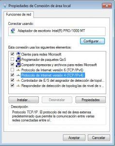 Windows 7 Propiedades de Conexión de área local