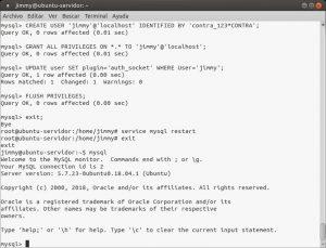 Agregando un usuario en MySQL con los mismos derechos de root y autenticación basada en usuario Ubuntu