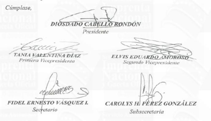 Asamblea Nacional Constituyente firmas Diosdado y Tania