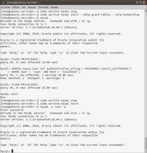Cambiando la contraseña perdida al usuario root de MySQL