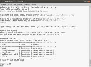 Listando DE NUEVO los usuarios en MySQL y el método de autenticación de cada uno de ellos