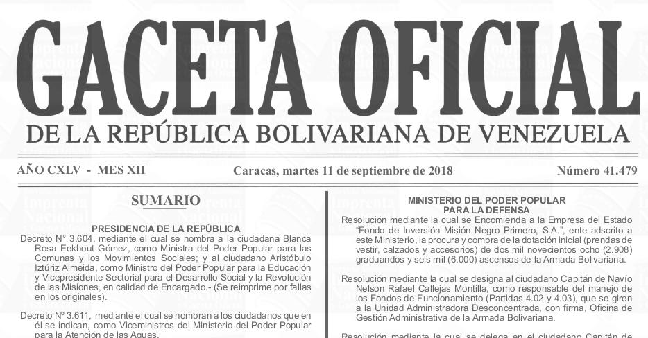 Gaceta Oficial 41.479 sumario