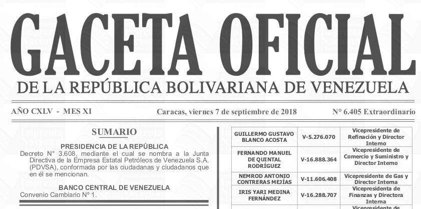 Gaceta Oficial Extraordinario N° 6405 sumario