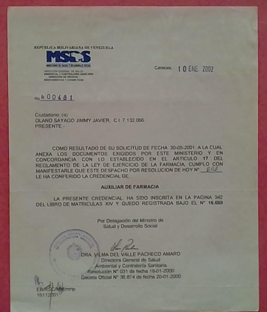 Jimmy Olano certificado de Auxiliar de Farmacia N° 16088 anverso