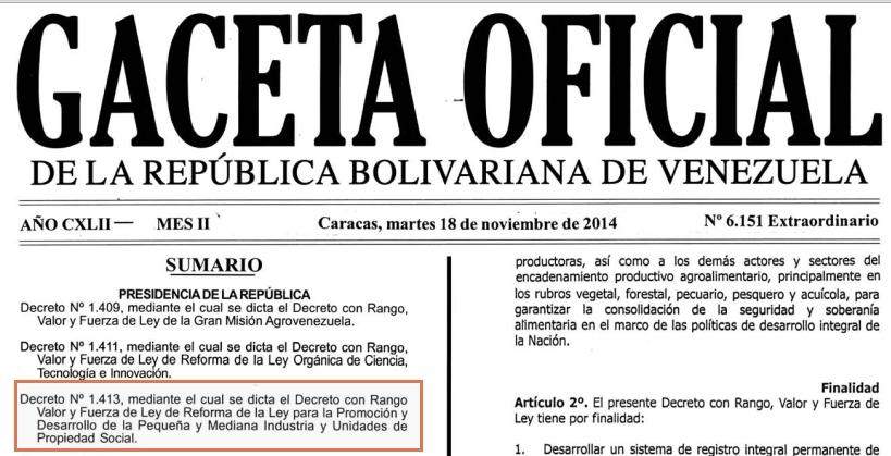 Gaceta Oficial Extraordinario N° 6.151 sumario