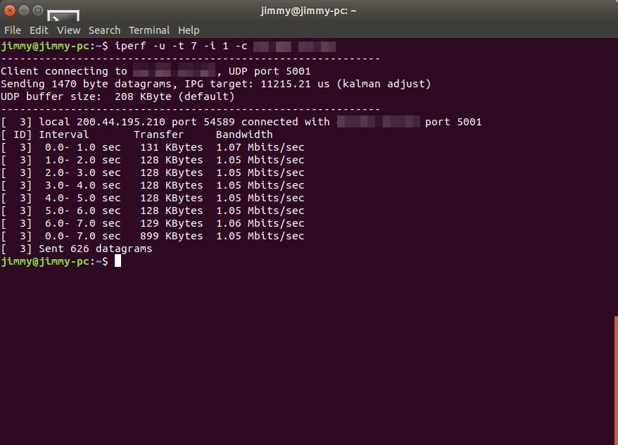 iperf IPv4 a servidor en Reino Unido