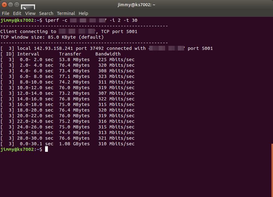 iperf IPv4 desde Canadá a servidor en Reino Unido