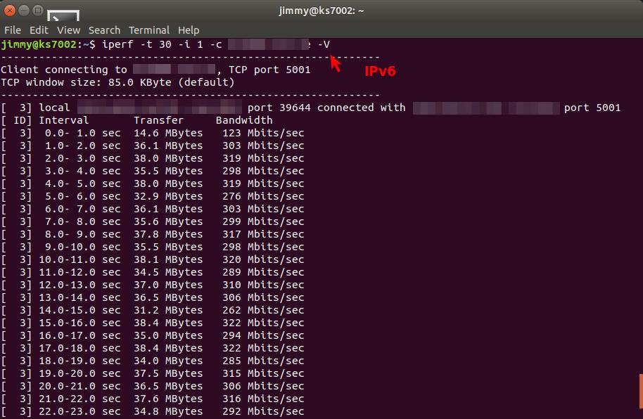 iperf cliente IPv6 en Canadá
