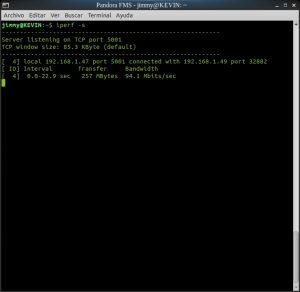 iperf -s (servidor puerto 5001)