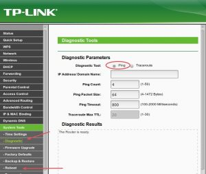 TL-WR740N página de herramientas de sistema