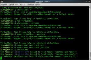 VirtualBox problema con carpeta USR y USR LIB