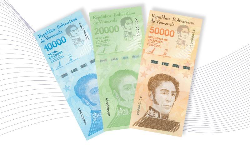Billetes de 10 mil 20 mil y 50 mil Bs Soberanos