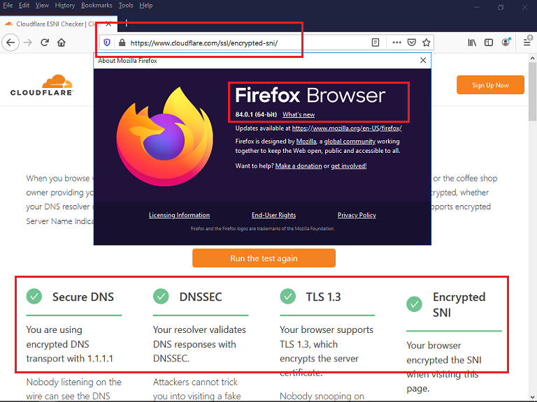 Mozilla Firefox 84 ESNI.