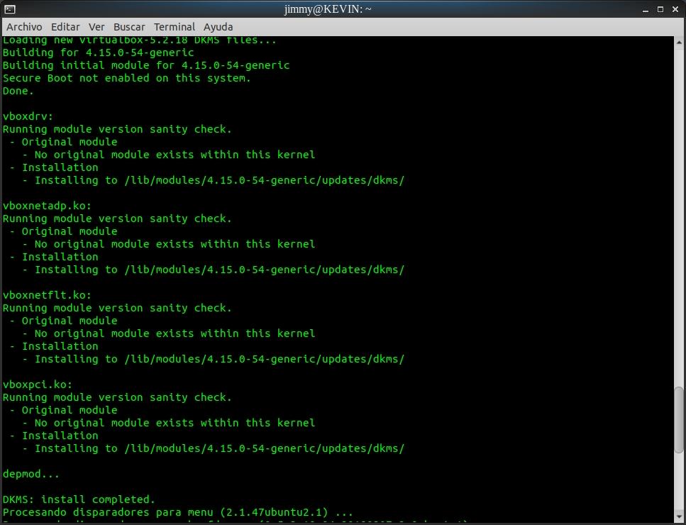 sudo apt-get install virtualbox (final)