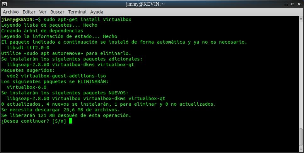 sudo apt-get install virtualbox (inicio)