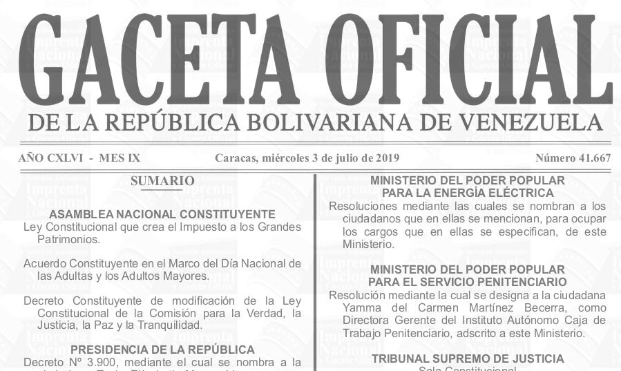 Sumario Gaceta Oficial 41.667