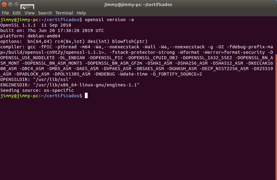 Esta guía fue traducida usando un binario de OpenSSL con los siguientes detalles