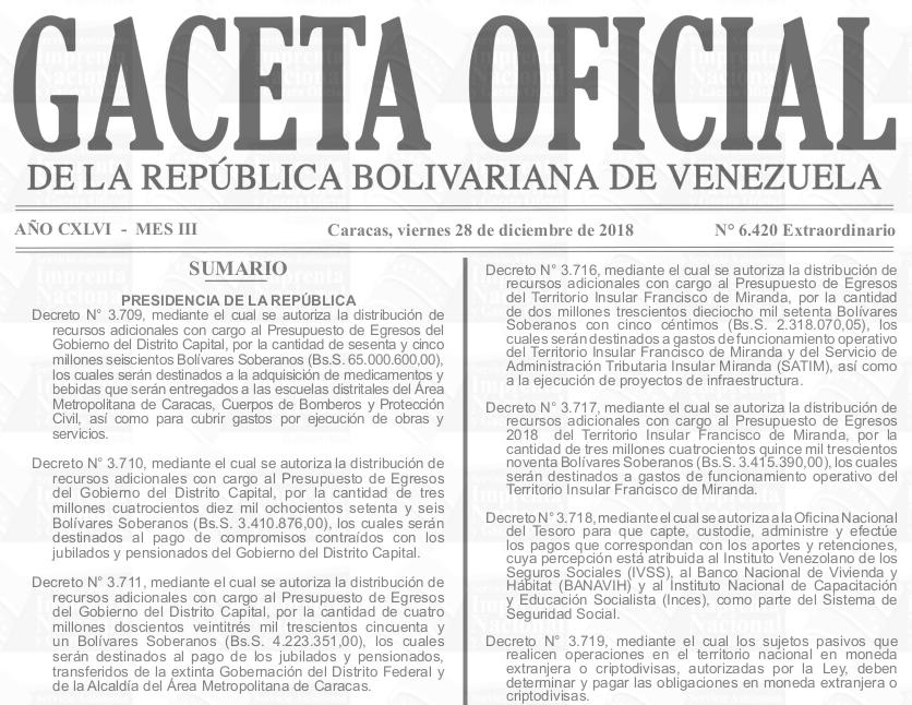 Sumario de la Gaceta Oficial Extraordinario 6.420