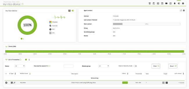 Pandora FMS: agente ping en ejecución normal