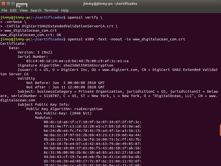 openssl verify -verbose (DigiCert avala certificado de DigitalOcean)