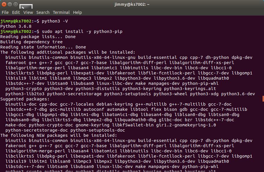 sudo apt install -y python3-pip