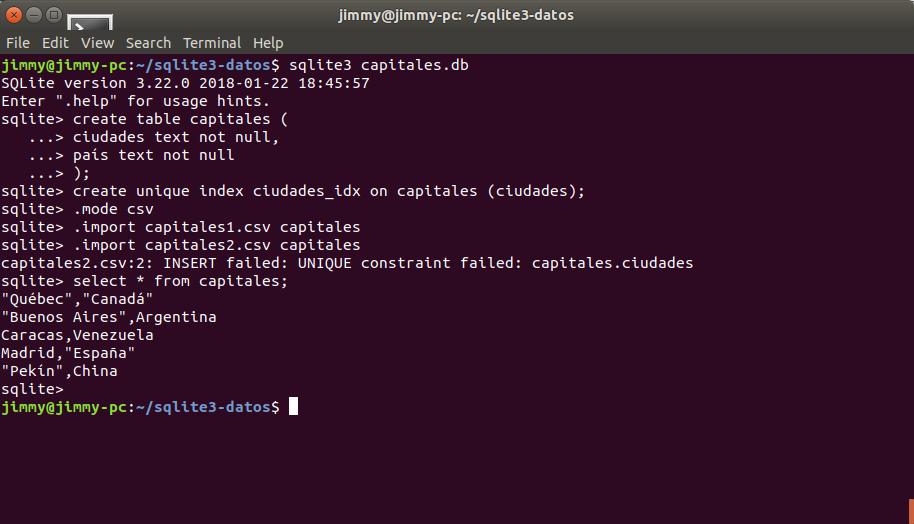 Importando desde un CSV a SQLite3 de manera indexada y sin repetir elementos