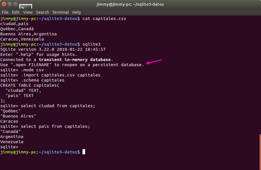 Importando un archivo CSV con cabecera a una base de datos temporal en Squlite3