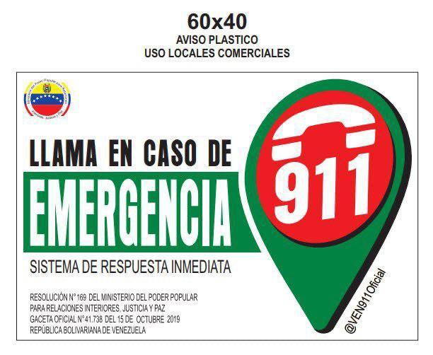 Llama en caso de emergencia a color (aviso plástico, locales comerciales)