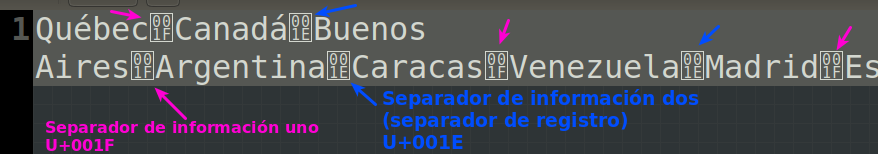 Separadores de información en ASCII