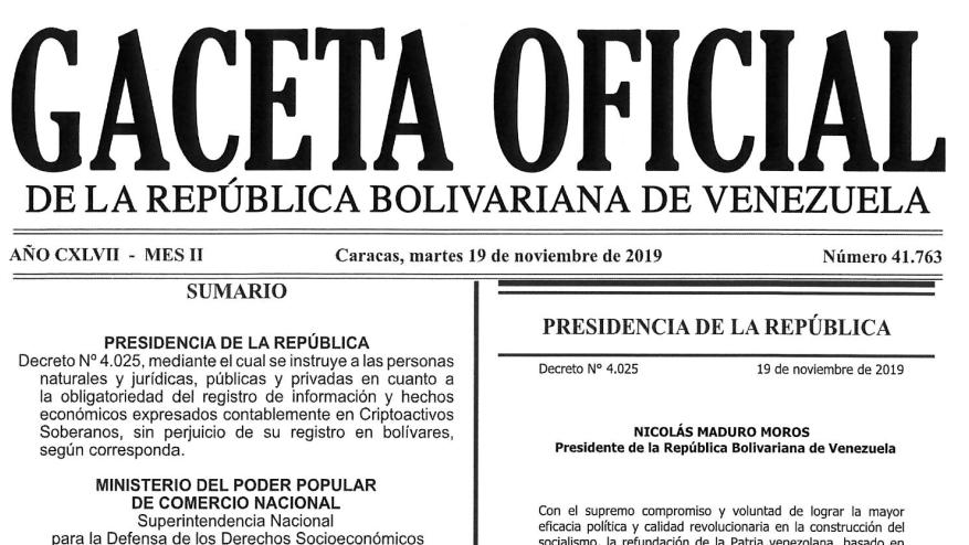 Gaceta Oficial 41.763 sumario: Decreto Presidencial N° 4.025