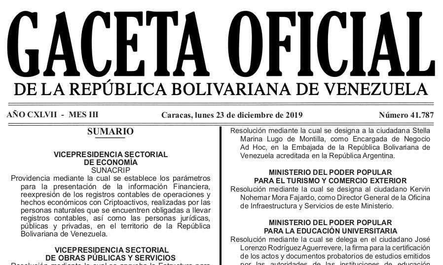 Gaceta Oficial 41.787 sumario: SUNACRIP Providencia N° 097-2019