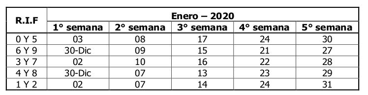 SENIAT calendario Contribuyentes Especiales enero 2020