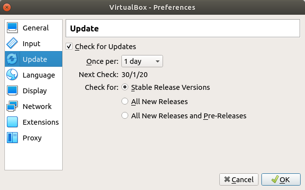 VirtualBox - Preferences