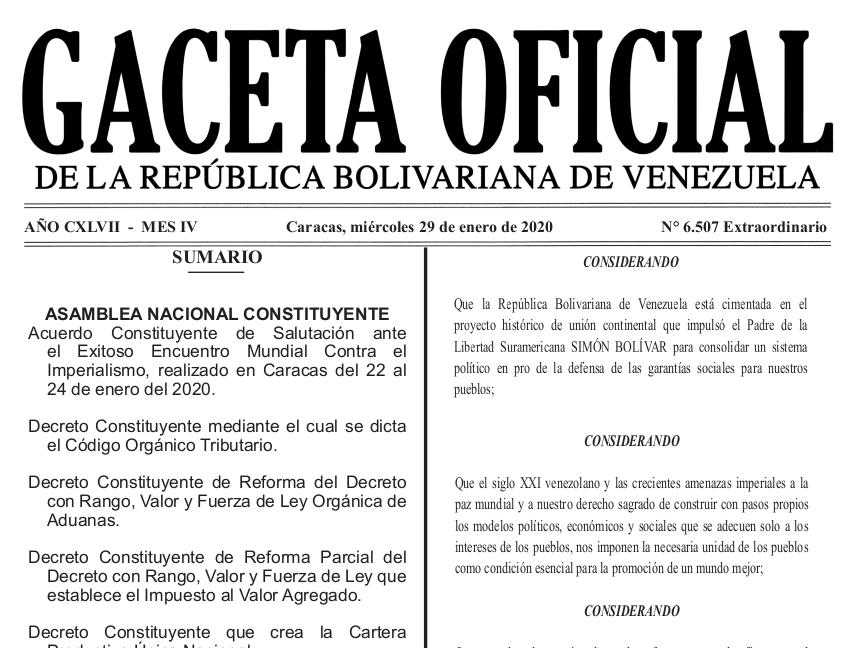 Gaceta Oficial Extraordinario 6.507 sumario 6507