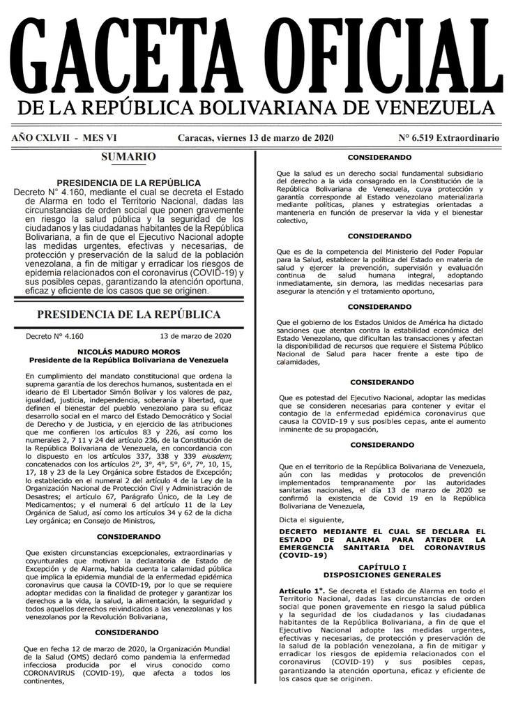 Gaceta Oficial Extraordinario n° 6519 Decreto 4160 estado de alerta considerandos hoja 1