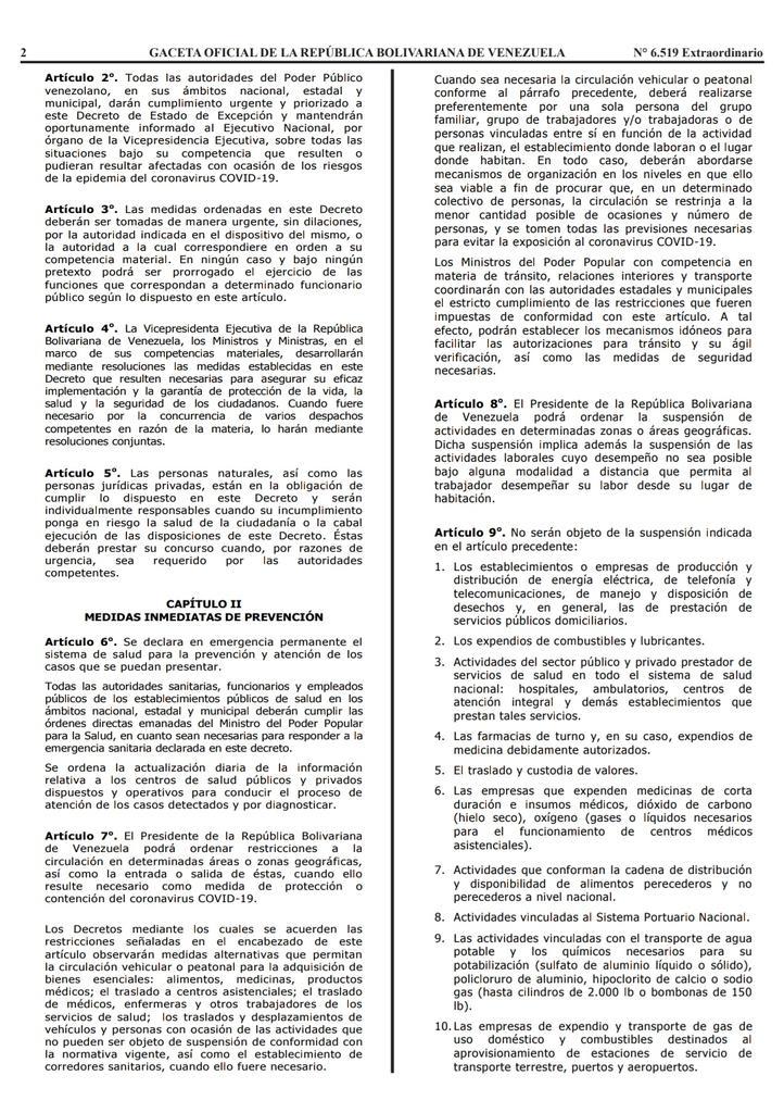 Gaceta Oficial Extraordinario n° 6519 Decreto 4160 estado de alerta considerandos hoja 2