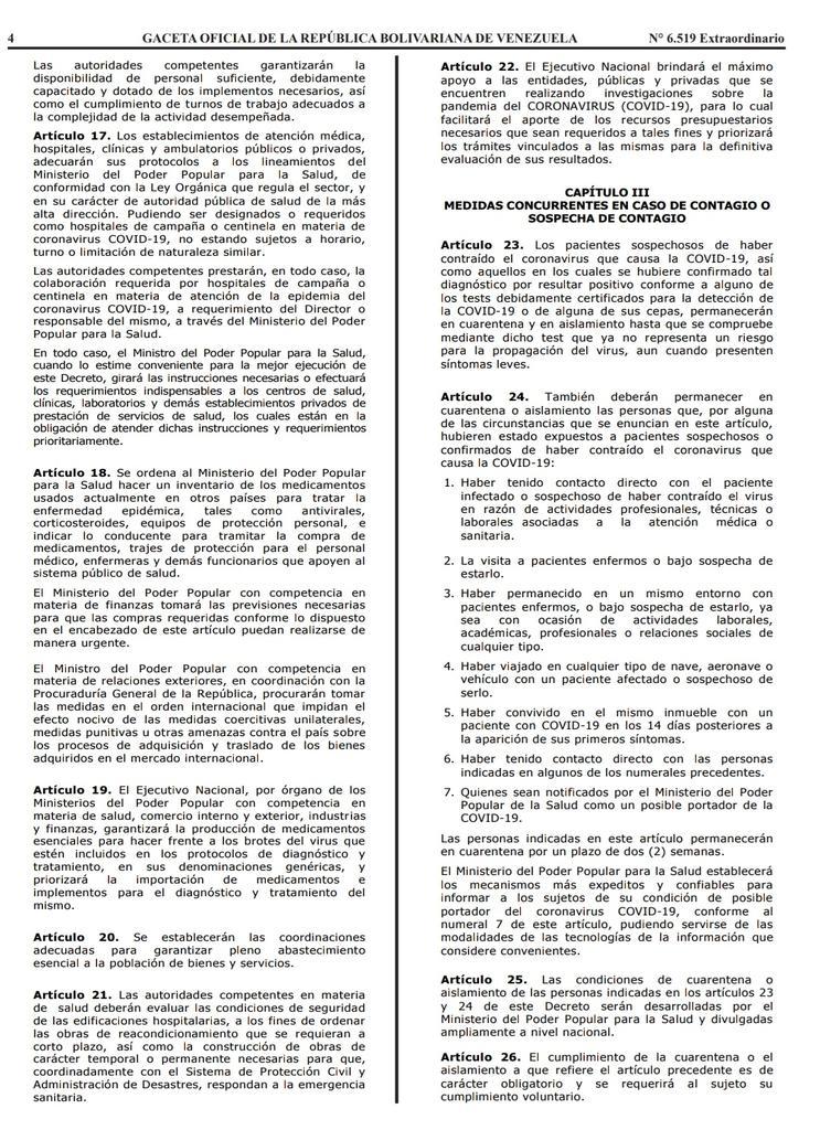 Gaceta Oficial Extraordinario n° 6519 Decreto 4160 estado de alerta considerandos hoja 4